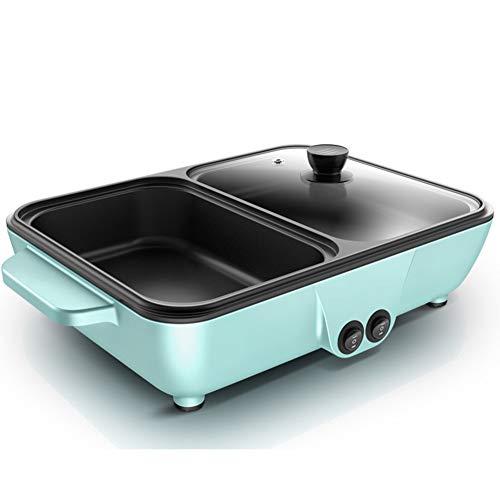 JGSDHIEU Forno Elettrico per Barbecue Domestico Pentola Calda Multifunzione Risciacquo Decotto alla griglia Pentola a Doppio Uso