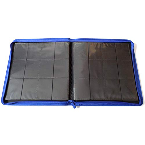 docsmagic.de Pro-Player 12-Pocket Playset Zip-Album Dark Blue - 480 Card Binder - MTG - PKM - YGO - Reissverschluss Dunkelblau