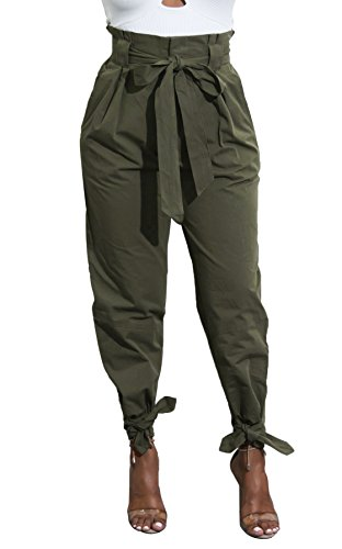 Yissang Women's Casual Loose Paper Bag Waist Long Pants Trousers with Bow Tie Belt Pockets Army Green Medium