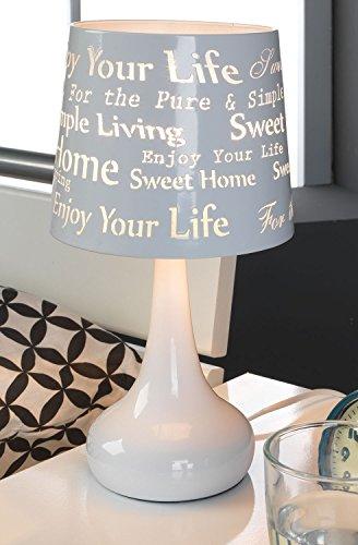 Nachttischlampe Tischleuchte Tischlampe | Metall | Weiß | Touch Me Touchfunktion