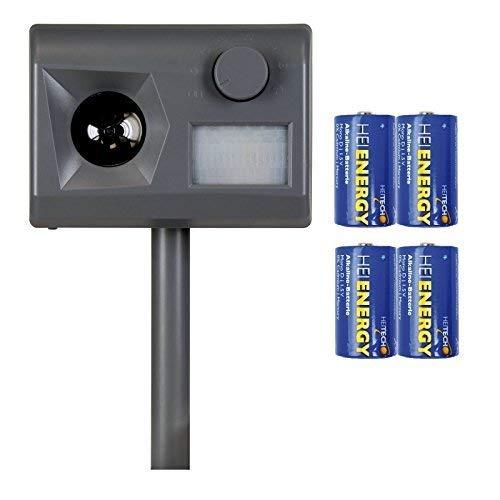 Weitech Garden Protector 3 - inklusive 4 Heitech Mono/D Batterien - Ultraschall Vertreiber gegen Katzen, Hunde, Füchse, Marder, Kaninchen, Reiher