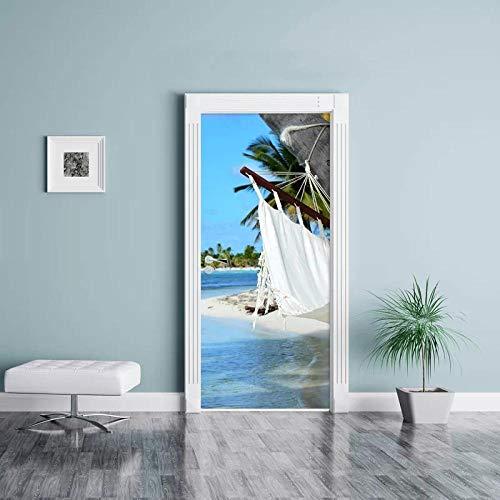 YQLKD 3D Door Sticker Wallpaper Etiqueta Engomada De La Puerta De La Vista del Mar De La Palmera De La Playa 3D Papel Pintado Impermeable del PVC Autoadhesivo para La Decoración del Hogar