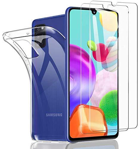 SHINEZONE [2 Stück+Hülle Panzerglas und Handyhülle für Samsung Galaxy A41 Mit [9H] Härte Anti-Kratz-, Anti-Öl- und blasenfreie Handy-Schutzfolie [Hülle Genaue Lochposition] [Kompatibel mit Hülle]