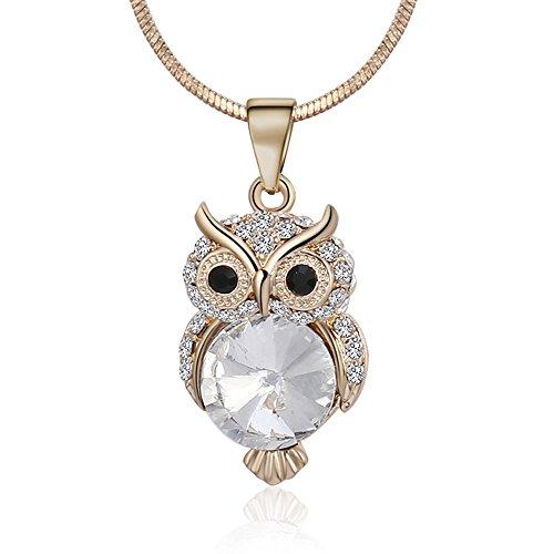 Ouran Collar Largo para Mujer, Lindo Collar Colgante de búho para niñas, Oro Rosa y Collar de Plata con Cristal (Chapado en Oro)