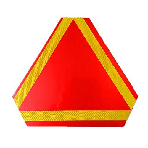 Hieefi 1 STÜCK Tragbare Warnreflektor Langsam fahrendes Fahrzeug Schild mit Reflexstreifen Sicherheitsdreieck Warnschild für LKW Anhänger Autozubehör