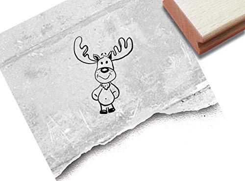 Stempel Kinderstempel - Kleiner Elch - Tierstempel Weihnachten Karten Geschenkanhänger Weihnachtsdeko Kita Basteln Geschenk für Kinder - zAcheR-fineT (klein ca. 20 x 26 mm)