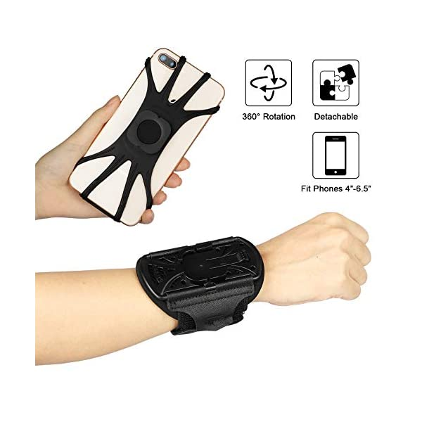 EEEKit Wristband Phone Holder with Earphone Key Holder, 360° Rotatable Detachable Sports Wristband Forearm Armband for iPhone, Galaxy, Pixel, 4-6.5 inches Phones, Perfect for Hiking Biking Walking