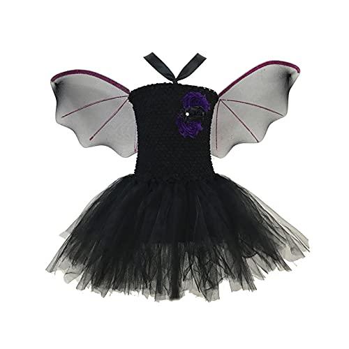 YiZYiF Enfant Fille Costume Chauve-Souris Déguisement Vampire Cosplay Halloween Carnaval Robe Fête Mascarade et Aile Chauve-Souris Serre-tête 2-10 Ans Noir 4-7 Ans