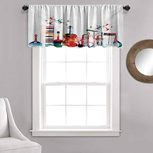Kitchen Curtain Valance, Colorful Musical Instruments Keyboard Guitar Banjo Trumpet Cello and Flying Birds Rod Pocket Half Window Kitchen Cafe Curtains for Kids/Master Bedroom,52'x 18',1 Panels