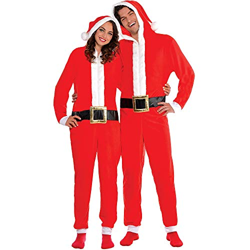 Amscan Zipster Santa One Piece Costume for Adults, SM/MD, with Attached Hood