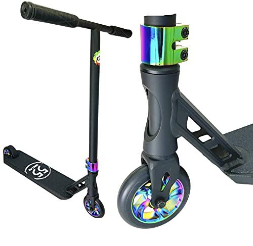 Double Five 55 Stunt Scooter H = 80 cm Niños Park Trick Roller + Fantic26 Pegatinas Negro/Rainbow neocromo