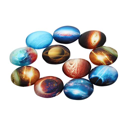 SUPVOX 12pcs planète ciel étoilé dôme de verre cabochons s'enclenche Flatback bijoux DIY accessoires pour la fabrication de bijoux (modèle aléatoire 25mm)