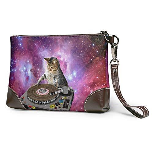 BFDX Galaxy DJ Cat Leather Wristlet Clutch Monederos Bolso Crossbody Clutch Wallet Bolsos para Mujeres