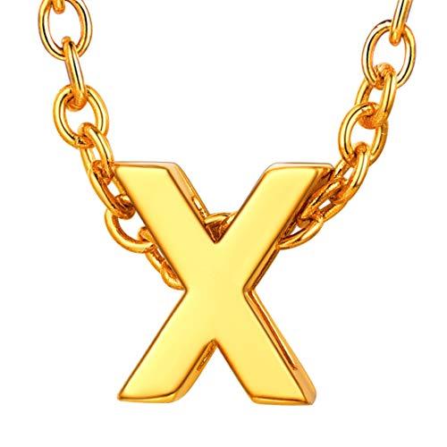 U7 イニシャルネックレスX レディース 18金メッキ ゴールド ペアネックレス シンプル 小さめ 鏡面 おしゃれ 大人可愛い アクセサリー 母の日プレゼント