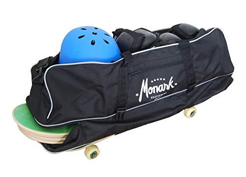 Bolsa de Viaje Negra para Llevar Tus Tablas de Skate. Esta Maleta Tiene un Bolsillo Grande Superior, para Llevar la Ropa, Casco y Protecciones.