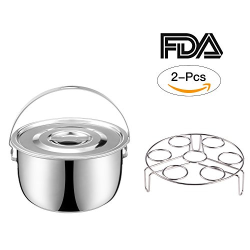 2 Pieces Instant Pot Accessories Stainless Steel Steamer Basket with Lid and Egg Steamer Rack,Composite Material Bottom,Replacement for 6/8 Qt Portable Round Cookware Set
