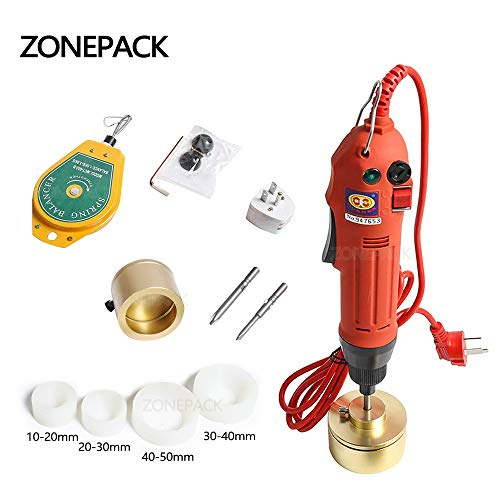 ZONEPACK Manual Electric Bottle Capping Machine Handheld Cap Sealer Sealing Machine 10-50mm Capping Diameter Bottle Capper Sealer Screwing Sealing Machine (110V)