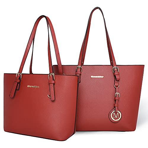 Montana West Simple Gold Emblazoned Logo Charm Hang Tag Soft Vegan Leather Shoulder Bag in Two Pieces (2red)