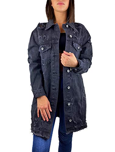 Worldclassca Damen Jeansjacke Oversized MIT Rissen Jeans Denim Jacket Vintage LANG Used WASH ÜBERGANGSJACKE Blogger DENIMWEAR Parka BLAU Denim Destroyed Mantel Cut Out Look S-XL NEU (L, Grau-8059)