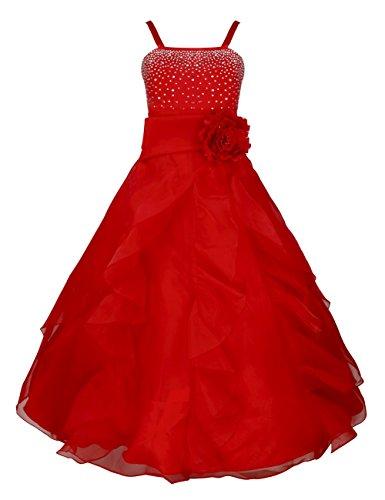 Tiaobug Blumenmädchen Festkleider Kleid Lang Brautjungfern Party Kleid Hochzeit Festlich Kleidung...