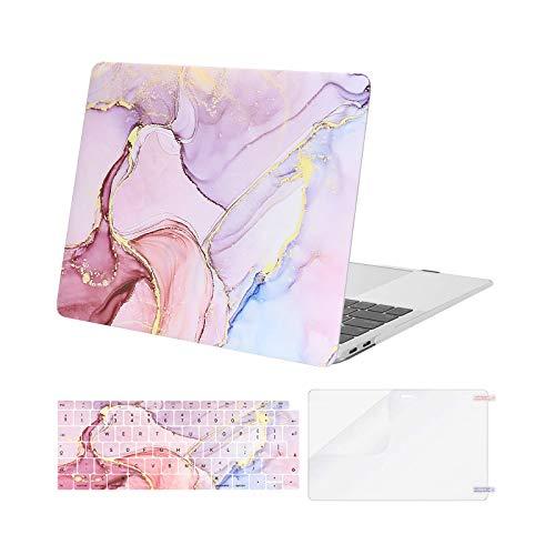MOSISO FundaDura Compatible con MacBook Air 13 Pulgadas 2020 2019 2018 A2337 M1 A2179 A1932, Carcasa Rígida de Plástico&Cubierta para Teclado&Protector de Pantalla, Mármol MO-MBH216, Rosa