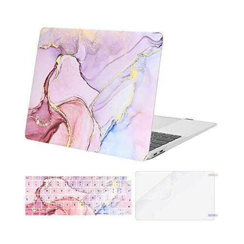 MOSISO MacBook Air 13 inch Case 2020 2019 2018 Release A2337 M1 A2179 A1932, Plastic Hard Shell&Keyboard Cover&Screen Protector Only Compatible with MacBook Air 13 inch Retina, Marble MO-MBH216, Pink