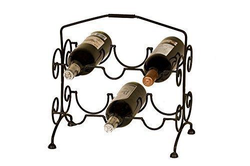Borras Hnos - Botellero forja 6 Botellas. (Color: Negro Tamaño: 35x24x34)