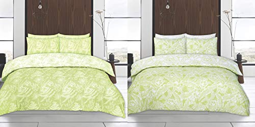 The Bettersleep Company Design Studio Twin Pack Reversible Printed Duvet and Pillowcase Set. 2 Duvet Cover Sets Per Pack. Hibiscus Design in Green (Double Duvet Cover & Pillowcase Set Twin Pack)
