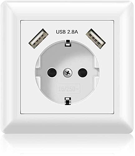 x1 Enchufe usb pared empotrable • 【USB 2.4A】• Caja de enchufe schuko + 2 tomas USB cargador smartphone tablet movil •【TAMAÑO UNIVERSAL】•【1 UNIDAD】