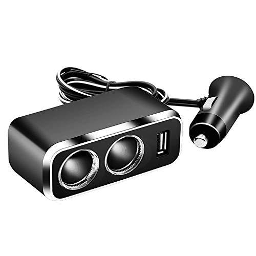 HuiHai - Cargador de mechero de coche con dos puertos USB, adaptador divisor con luz para coche, camión, SUV, iPad, accesorios de teléfono