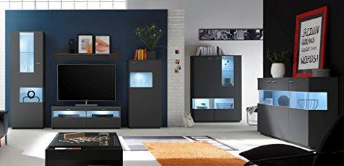 COMO Wohnzimmer Set 4 Wohnwand Anbauwand Wohnkombination Graphit Grafit supermatt