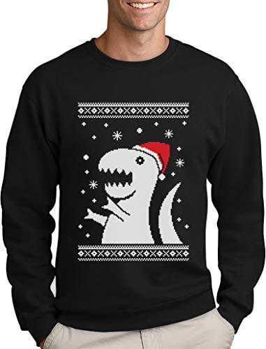Green Turtle T-Shirts Weihnachten Fun Motiv T-Rex Dino Schneeflocken Winter Sweatshirt Large Marineblau