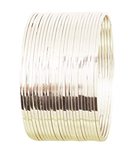 Touchstone - Juego de 24 pulseras de plata para mujer, diseño indio de Bollywood Desire con un aspecto impresionante y bordes finos de corte fino, tono de tono, profundidad de joyería fina
