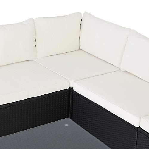 Casaria Poly Rattan XL Lounge Set inkl. 7cm Auflagen und 15cm dicken Kissen Tisch mit Glasplatte frei stellbare Elemente Gartenmöbel Sitzgruppe Schwarz Creme - 3