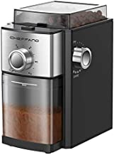 Conical Burr Coffee Grinder, CHEFFANO Electric Coffee Bean Grinder [1500W Max] with 8.8oz Large Bean Hopper & 17 Grinding Settings & High Up to 12 Cups Options for Espresso, French, Percolator Maker