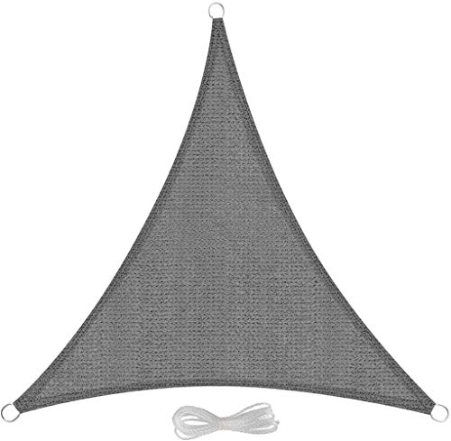 Pakopjxnx Sun Shade Sail 5x5x5m Triangle Grey Block Balcony Terrace Garden Sail Shade Sunscreen Awning Canopy with Rope,4x4x4m