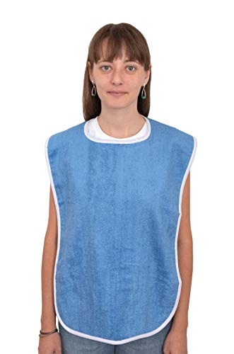 3 Pack Elaine Karen Premium Adult Bibs - for Men, Women Eating Cloth for Elderly Seniors and Disabled, Adjustable, Terry Clothing Protector, Machine Washable, Blue