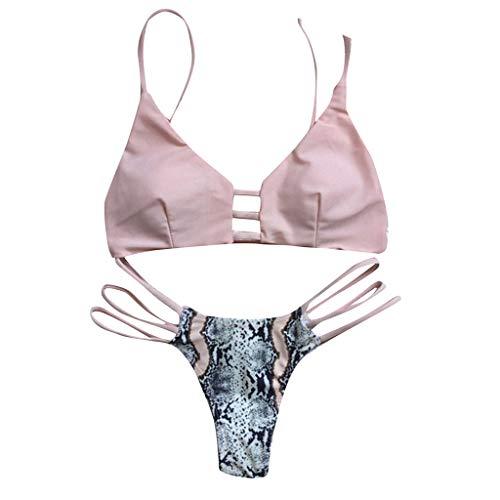 AmyGline Badeanzug Damen Bikini Set Einfarbig Schlange Split Badeanzug Sexy Bikini Bademode Frauen Strand Swimsuit Beachwear
