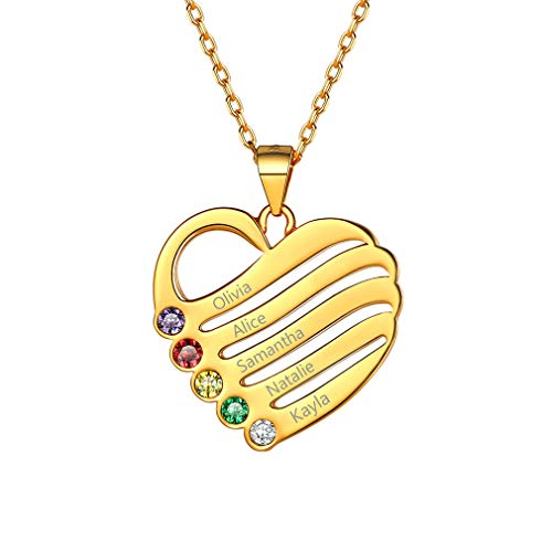 Corazón Oro Plata de Ley 925 Colgante Elegante Collar Personalizado con Cinco Piedras de Nacimiento y Cinco Nombres Grabados