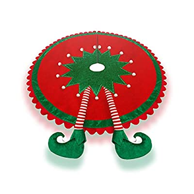 TangJing Elf Christmas Tree Skirt with Delightful Legs.Ripple Trim Border, Large 48 inches Round Indoor Outdoor Mat Xmas Party Holiday Decoration.