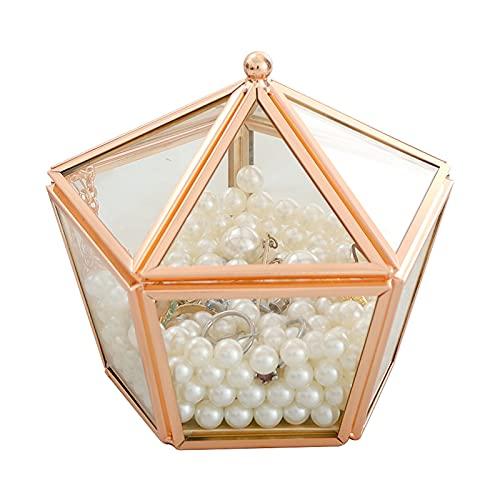 Caja de Joyas Caja de joyería de Cristal Vintage Golden Geométrico Joyería Mostrar Caja Organizador Caja Decorativa Hogar Caja para el Almacenamiento Pendiente Anillo Joyero Viaje Decorativas