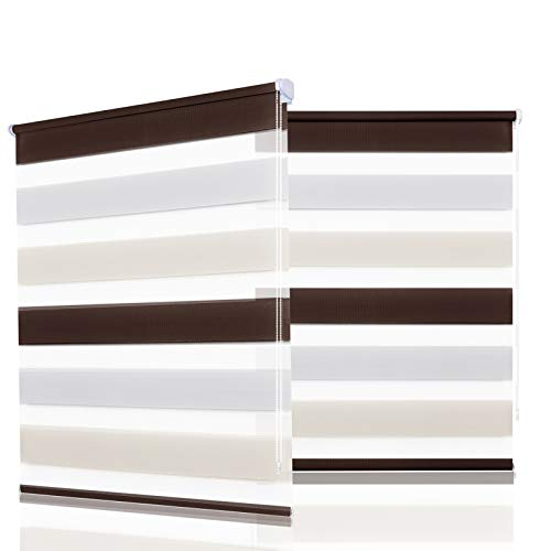 HOMEDEMO Doppelrollo Klemmfix ohne Bohren (Weiss-Beige-Braun, 85x150cm) Duo Rollo mit Klämmträgern Sicht und Sonnenschutz für Fenster & Türen
