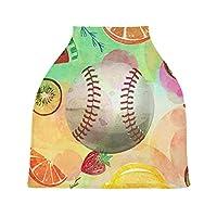 アート野球カラフルベビーカーシートカバー、キャノピー看護カバー、幼児の授乳の男の子のためのソフト通気性防風スカーフチェンジパッド