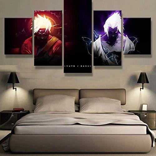 FJLOVE Bild auf Leinwand Naruto VS Sasuke Giant Fight Sword 5 Teilig Wanddekoration Wand Canvas Die Bilder Kunstdruck,B,150x80cm