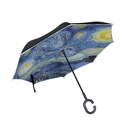 ISAOA un Puede Paraguas Resistente al Viento Doble Capa invertido Plegable Paraguas para Lluvia de Coche al Aire Libre Uso, Mango en Forma Paraguas Noche Estrellada de Van Gogh Art Azul