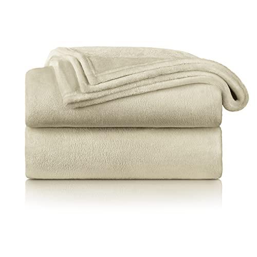 Blumtal Mantas para Sofá de Franela Suave y Acolchada - Manta Polar 100% Microfibra Extra Suave, Manta de sofá, de Cama o de Sala de Estar, Beige, 150 x 200 cm