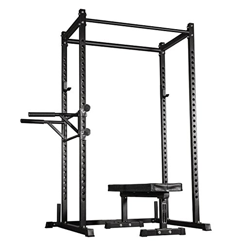 Rep Power Rack – PR-1000 – with Flat Bench FB-3000 and Dip Attachment