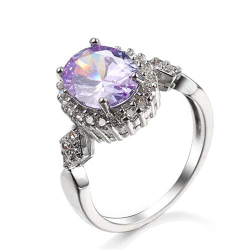 XLOOYEE Joyería de Zircon de Cristal Anillo Anillo de joyería de Plata para Novia Compromiso,Púrpura
