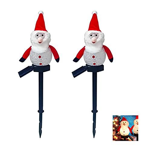 Coding Juego de 2 lámparas solares decorativas para jardín, resistentes al agua, para exteriores, Navidad, muñeco de nieve, luz para césped, color rojo