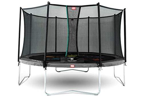BERG Favorit Trampoline Regular 430 cm grau Levels + Safety Net Comfort | Premium Trampolin, Hohe Qualität Kinder Trampolin, Robust und Sicher, Rund